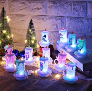 Natal ornamento Natal LED eletrônico vela xmas decoração nightlight santa claus boneco de neve lâmpada de vela de natal decoração ZY41