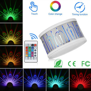 LED Wall Light Touch Peacock Projection Lamp Remote Control Home Decro Romantic Atmosphere Colorful Corridors Night Light