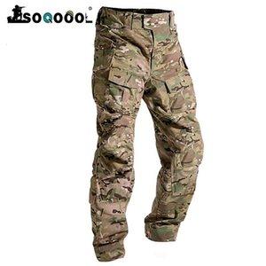 Soqoool Herren Mode Outdoor Walking Overalls Camouflage Taktische Militärunisikokämpfe Multi-Pocket Broek