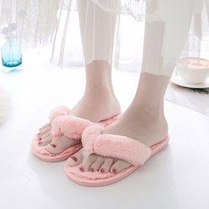 Bevergreen Winter Pele Flip Flops Mulheres Casa Faux Pele Quente Chinelos Quarto Senhoras Sapatos Liso Home Meninas Furry Chinelos Y201026