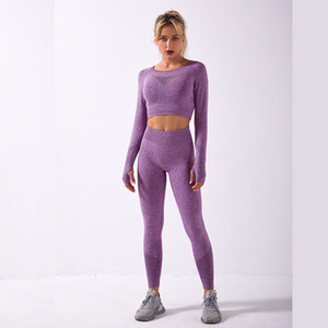 Women's Tracksuits Seamless Long Sleeve High Waist Leggings Sports Sets Gym Clothes Fitness Workout Running Suit Autumn Women Y1123