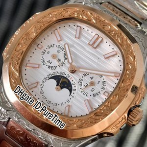 New 5740 CNC Engraving Punk Two Tone Rose Gold Silver Textur Dial Automatic Moon Phase Complex Function Mens Watch Watches Puretime B322d4
