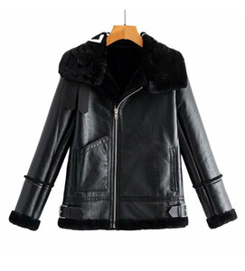 Yeni Sonbahar Kış Tasarım Moda kadın Faux Kuzu Kürk Patchwork Mektup Baskı Süet Deri Sıcak Ceket Kaban Artı Boyut S M L XL