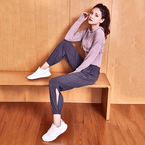 Gym top women's slim fit Pullover long sleeve Yoga suit running Hoodie spring cover up
