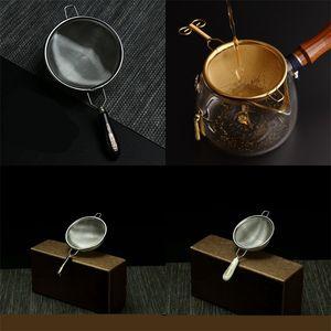 Tea Leakage Meshs Metal Colour Gold Plating Filter Screens Strainers Stainless Steel Hopper Decoration Ceramics Metal Handle 9xg C2
