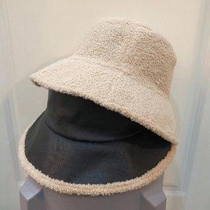 New Winter Raw EdgeBucket Hat Women PU Warm Velvet Solid Bucket Hats Unisex Fashion Double Sided Panama Fisherman Caps Tourism