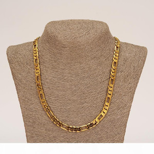 E Wholesale Classic Figaro Cuban Link Chain Necklace Bracelet Sets 14k Real Solid Gold Filled Copper Fashion Men Women &#039 ;S Jewelry