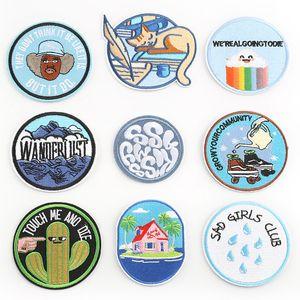 Autocollants en tissu rond Accessoires Vêtements Badges Stickers en tissu de broderie transfrontalier Chapitre Computer Broderie Chapitre DHL FREE