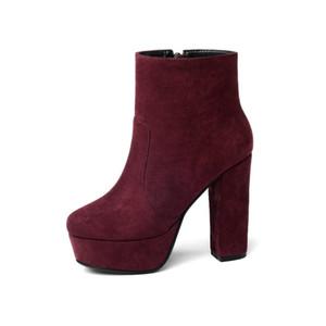 NEMAONE 2020 NUEVO Botas de cuero de la carne de alta calidad Mujeres Mujeres Altas Tacones Plataforma Botas de tobillo para las mujeres Redondo Toe Otoño Zapatos de invierno C0202