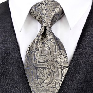 J20 Paisley Multicolor Champagne Khaki Black Dark Gray Mens Ties Neckties Pocket Square 100% Silk Elegant Tie Set Free Shipping Wholesale