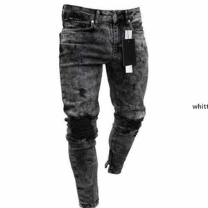 2021 Spring And Summer New Men &#039 ;S Skinny Jeans Snowflake Casual Slim Zipper Pants Men &#039 ;S Jeans w