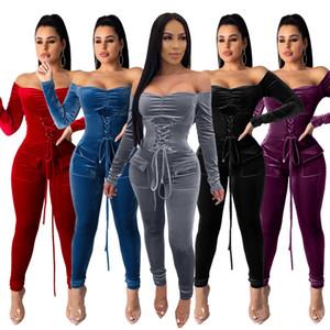Женская одежда Sportswear Designer Velvet Corset Кружева Сексуальная с длинным рукавом с плечами Комбинезон для плеча Карманные женщины Спортивные трексуиты