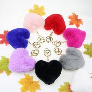 hot Heart Ball Pom Pom Keychain Fluffy Faux Rabbit Fur Pompom Key Chains Women Bag pendant Jewelry Key Chains Key buckle T2C5196
