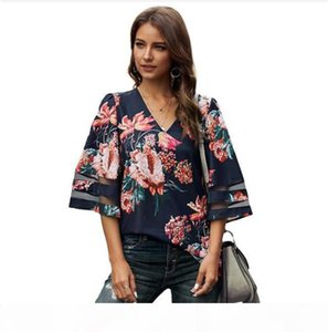 Floral Leopard Summer Womens Shirts en V Cuello suelto Casual Media Manga Para Mujer Designer Tshirts Paneled Hollow Out Tess