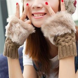 1 Pair Winter Gloves Female Fingerless Gloves Without Fingers Women Cotton Warm Winter Hand Wrist Warmer Mittens
