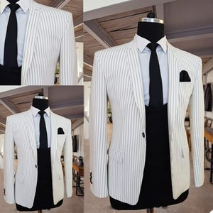 Handsome White Slim Fit Men Suits with Black Prinstripe Wedding Groom Tuxedos Bridegroom Suits Designer Best Man Prom Blazer