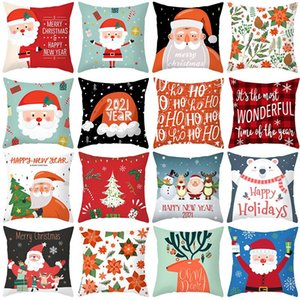 1P Santa Claus Snowman Deer Cushion Cover Merry Christmas Happy New Year Square Pillow Cases Sofa Pillowcase Covers Home Decor