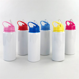Sublimation Blanks Kettle Aluminum Suction Nozzle Big Mouth Color Cover Water Bottles White Sports Cups Heat Resistant 8 5ty M2