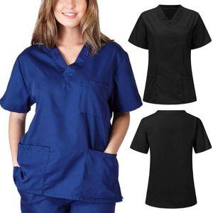 Men Women Blouse Short Sleeve V-neck Nursing Uniform Blouse Scrub Tops With Pocket Loose Shirt Plus Size Work Wear Uniform Shirt