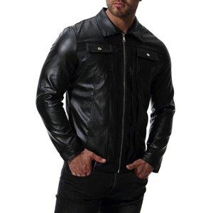 2020 elegante lateral lateral bolsillo chaqueta de cuero chaqueta de cuero con dobladillo recto con cremallera solapa de cuero casual