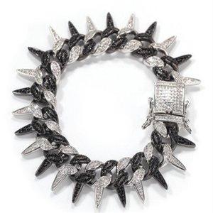 19mm Rapper Wristband Chains Bracelets for Men Women Hop Hop Punk White Gold Black Iced Out Cubic Zirconia Spike Cuban Link Chain e656