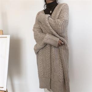 FMFSSOM New 2020 Women's Sweaters Autumn Winter Fashionable Bat Sleeve Cardigans Oversize Warm Wild Knitwear Tops 201123