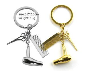 China factory hot cheap new tide hot TV surranding accessories promotional gift alloy hairdressing scissors hairdryer comb car keychain