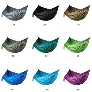 12 Color Outdoor Parachute Cloth Hammock Foldable Field Camping Swing Hanging Bed Nylon Hammock With Rope Carabiners DBC DH1338-1