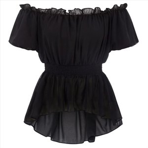 Womens Smocked waist blouse gothic party vintage Renaissance Victorian Short Sleeve Off Shoulder High Low shirt Chiffon Tops