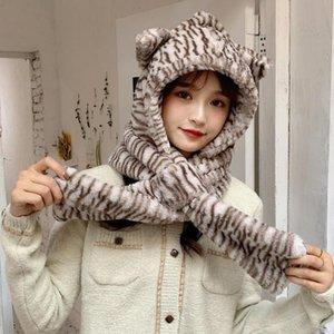 Mulheres Inverno 2 Em 1 Capuz Cachecol Beanie Hat Zebra-listrado Urso Orelhas Earflap Cap Dxae