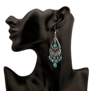 2020 women's new fashion and creative Bohemian hollow water drop resin retro water drop alloy gemstone tassel earrings