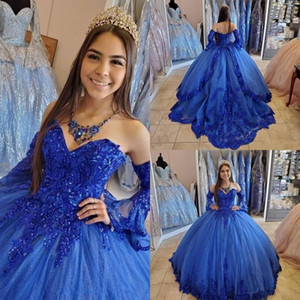 Gorgeous Royal Blue Princess Quinceanera Dresses 2021 Sequins Lace Applique Beaded Sweetheart Lace up Corset Back Formal Sweet 16 Dresses