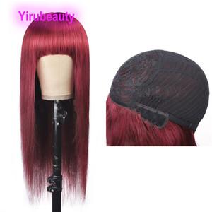Sedoso recto 99J pelucas de mecanismo completo Pelucas de Virgen Malasia Pelo sin poca Caballo Productos para el cabello 10-32 pulgadas Burgundía 99J Color Pulgada larga 32 pulgadas
