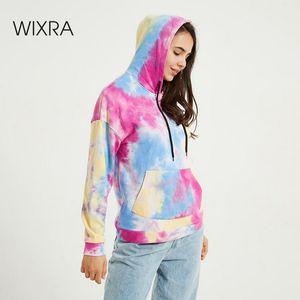 Wixra Womens Tie-dye Sweatshirts Femme New Fashion Hot Hoodies Pocket Long Sleeve Autumn Winter Casual Streetwear Tops Y1116