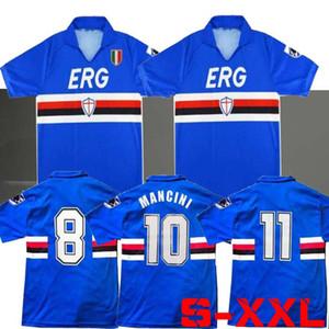 90 91 SAMPDORIA MANCINI Vialli Home Soccer Jersey 1990 1991 Maglie da Calcio Sampdoria Retro Vintage Clássico Camisa de Futebol Maillot