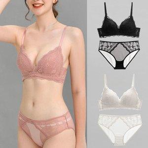Empurre as mulheres de sutiã Lace Sexy Lingerie Set Transparente Bralette e Panty Set Floral Underwear Bordado Bielizna C1212
