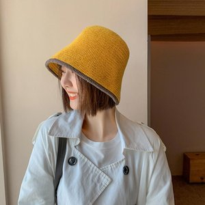 Cokk Hat Women Winter Autumn Warm Knitted Wool Bucket Hats For Women Simple Casual Korean Bucket Hat Retro Fisherman Cap Female Swy sqclbH
