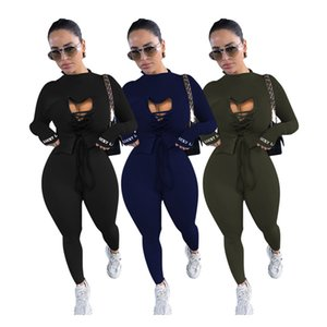 Lucky Label Two Piece Set Women Outfit Hollow Out Top Bodycon Jumpsuit Fall Clothes Joggers Matching Set Wholesale Dropshipping F1216