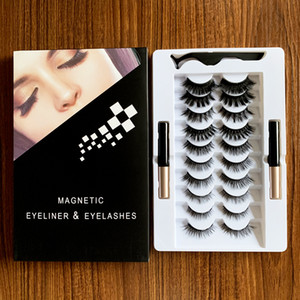3D 5D Magnetic Eyelashes Kit Magnetic Eyeliner Makeup Magnetic False Lashes 10 Pairs Reusable Lashes Liquid Eyeliner Natural Look No Glue