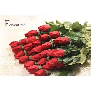 Wholesale-2015 NEW 1pcs Real Touch rose Bud Artificial silk Flowers bouquet Home decorations for wedding Party or Birthday