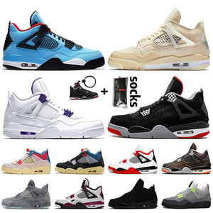 retro 4 Travis scott 4 4s OFF White SAIL Top qualité Hommes Femmes Chaussures de basket Court Purple Bred FIBA Neon Black Cat formateurs baskets