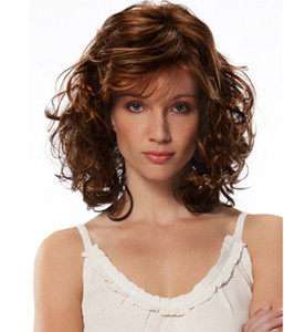 Ladies Ombre Blonde Dark Brown Roots Long Curly Wavy Heat Resistant Synthetic Hair Wig for Women Blonde Wig with Bangs 18inch