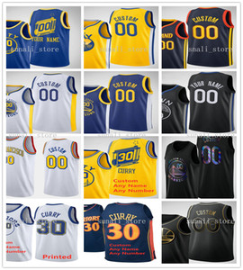 2021 Uomini Donne Bambini stampati Stephen 30 Curry Klay 11 Thompson Andrew 22 Wiggins Draymond 23 Green Jerseys New City Navy Blu Bianco Giallo