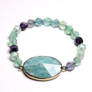 Braccialetto del pendente in pietra naturale per le donne uomini fluorite amazzonite yoga perline sfaccettata braccialetti di meditazione monili meditazione1