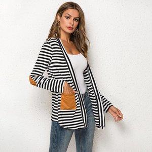 Women Cardigan Oversize Spring Summer Thin Cardigan Poncho Long Women Stripe Patch Cardigans Coat