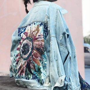Women Denim Jacket feminine Spring Autumn Boho Sequin Floral Appliques Embroidery Coat Long Sleeve Outerwear Female Veste femme