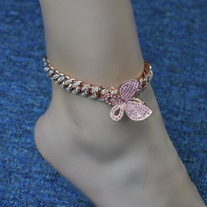 2020 Fashion Hip Hops Gold Plating Miami Cuban Chain Butterfly Ankle Bracelet Rose Gold Butterfly Anklet for Women