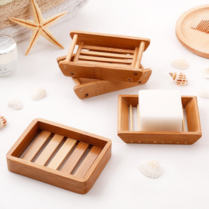 Free Shipping Natural Bamboo Wooden Soap Dish Wooden Soap Tray Holder Storage Soap Rack Plate Box Container for Bath Shower Bathroom