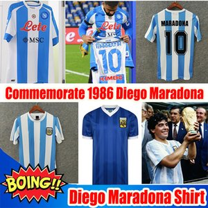 Rétro 1986 Argentine Diego Maradona Soccer Jerseys Messi Messi Commemorer Camiseta Boca Juniors 4ème Maillot Naples Napoli Thailand Football Shirt