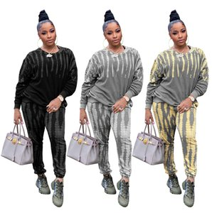 Tie-Dye Printing Casaul Tracksuits Outfits Women Autumn Winter Keep Warm O-neck Sweatshirts + Loose Sport Pants Two Piece Sets